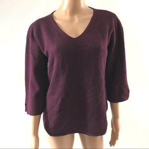 Chicos Women's V-neck Sweater Size US M 3/4 Sleeve